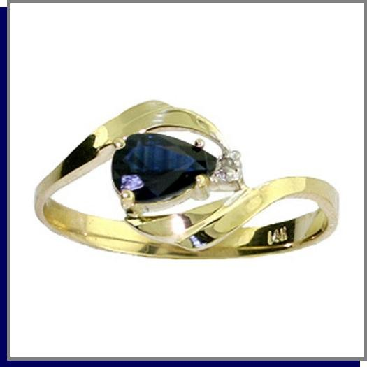 14K Solid Gold .50 CT Pear Sapphire & Diamond Ring SZ 5 - 9