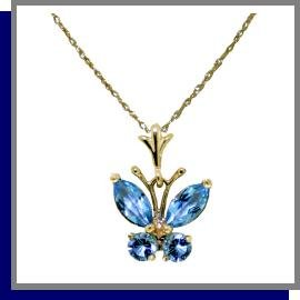 14K Solid Gold .50 CT Natural Blue Topaz Butterfly Necklace