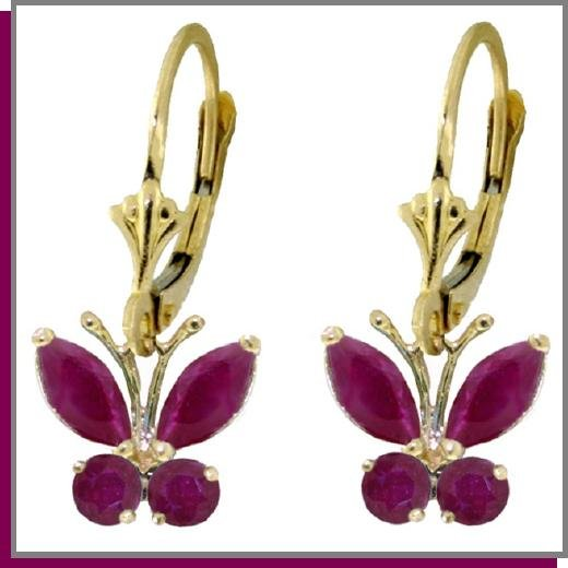 14K Solid Gold 1.25 CT Natural Ruby Butterfly Dangle Earrings