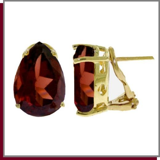 14K Solid Gold 10.0 CT Pear Natural Garnet Earrings