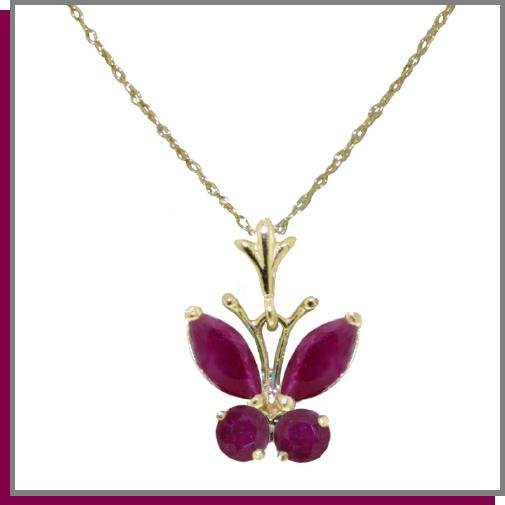14K Solid Gold .50 CT Natural Ruby Butterfly Necklace