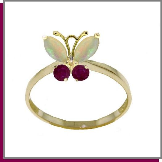 14K Solid Gold .70 CT Natural Opal & Ruby Butterfly Ring SZ 5-9