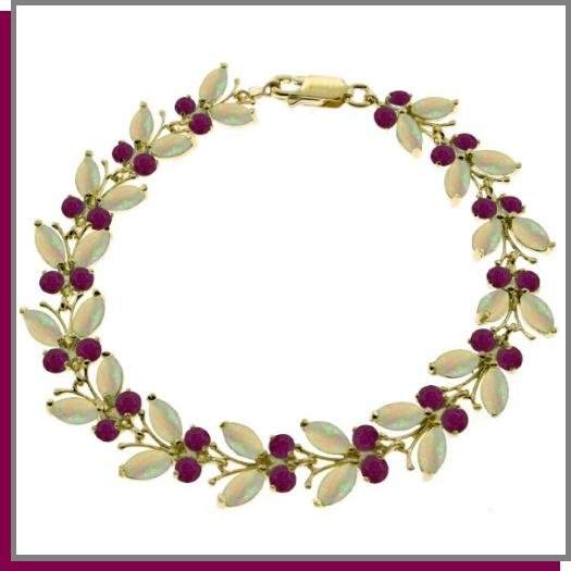 14K Solid Gold 12.0 CT Marquis Opal & Round Ruby Butterfly Bracelet
