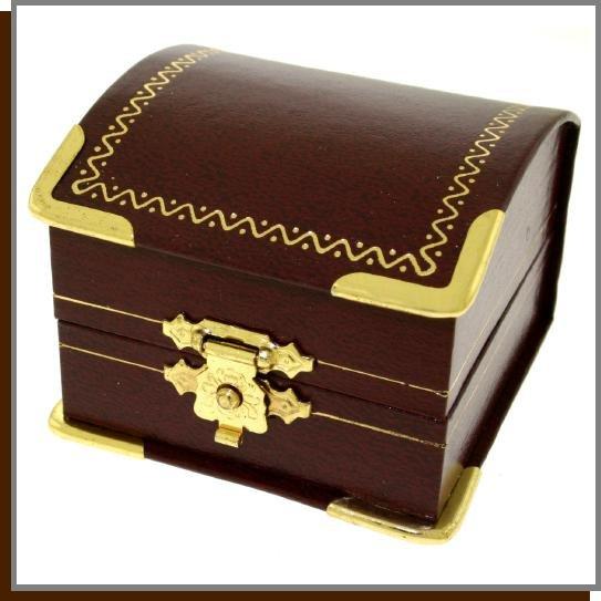 Elegant Leatherette Gold Rimmed Jewelry Gift Box