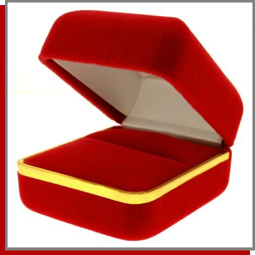 Red Velvet Jewelry Gift Box with Gold Color Rim