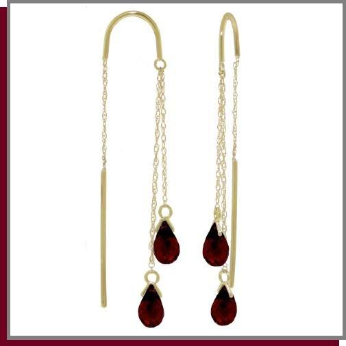 14K Solid Gold Threaded Dangle Earrings 2.5 CT Garnet