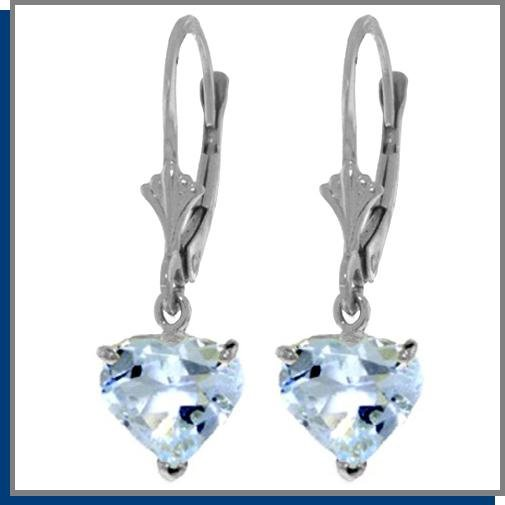 3.25 CT Aquamarine Sterling Silver Dangle Earrings