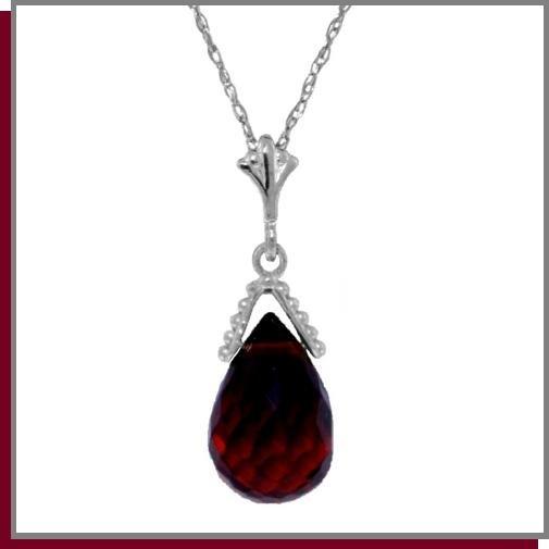 """2.25 CT Briolette Garnet Sterling Silver Necklace 18"""""""