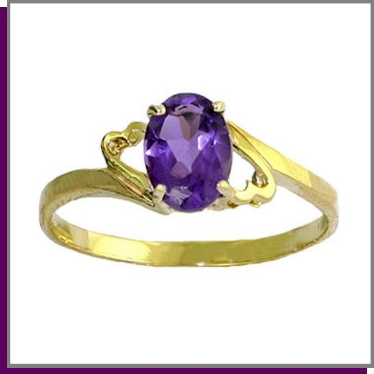 14K Solid Gold .75 CT Oval Amethyst Ring SZ 5 - 9