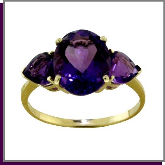 14K Solid Gold 4.0 CT Natural Amethyst Ring SZ- 6.75