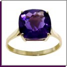 14K Solid Gold 3.6 CT Natural Amethyst Ring SZ 5-9