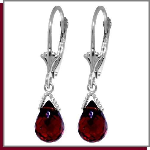 4.50 CT Briolette Garnet Sterling Silver Earrings