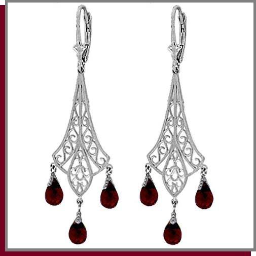 3.75 CT Garnet Sterling Silver Chandelier Earrings