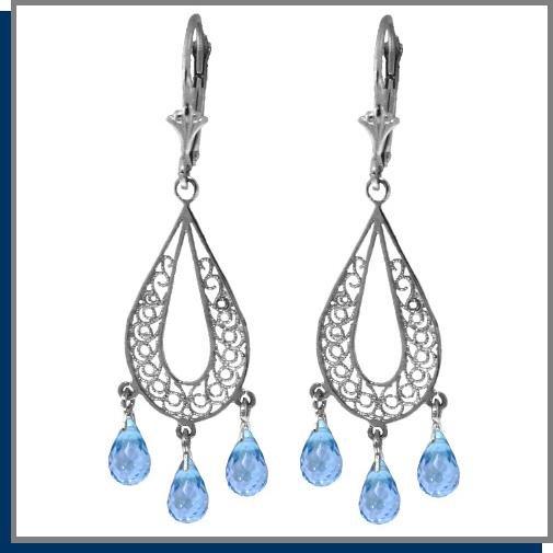 3.75 CT Blue Topaz Sterling Silver Chandelier Earrings