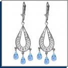 3.75 CT Blue Topaz Sterling Silver Chandelier Earrings
