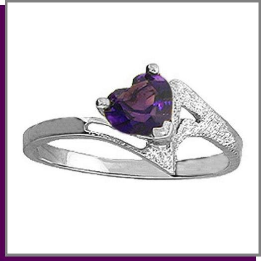 .60 CT Amethyst Heart Sterling Silver Ring SZ- 7