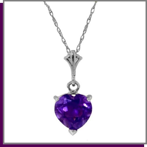 """1.15 CT Amethyst Heart Sterling Silver Necklace 18"""""""