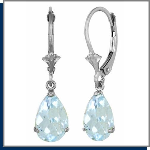 3.0 CT Pear Aquamarine Dangle Sterling Silver Earrings