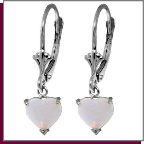 1.30 CT Opal Heart Sterling Silver Dangle Earrings