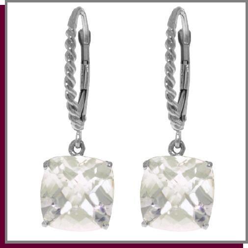 7.20 CT White Topaz Sterling Silver Dangle Earrings
