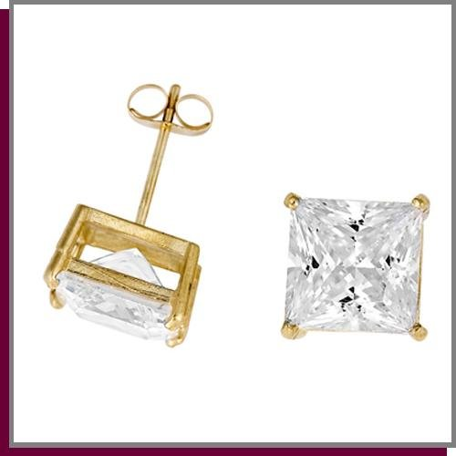 14K Gold 4.0 CT Simulated Diamond Stud Earrings