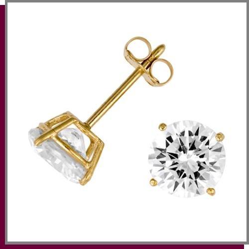 14K Gold 4.5 CT Round Simulated Diamond Stud Earrings