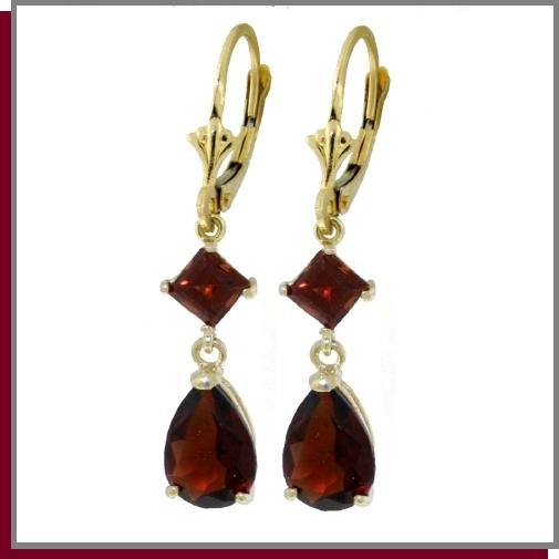 14K Solid Gold 4.5 CT Garnet Dangle Earrings