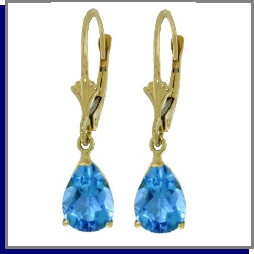 14K Yellow Gold 3.7 CT Blue Topaz Dangle Earrings