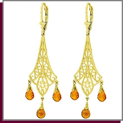 14K Yellow Gold 4.2 CT Citrine Chandelier Earrings