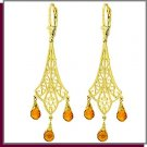 14K Yellow Gold 4.2 CT Citrine Chandelier Earrings