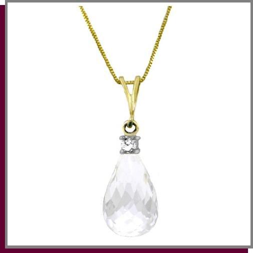 14K Yellow Gold 2.25 CT White Topaz Diamond Necklace