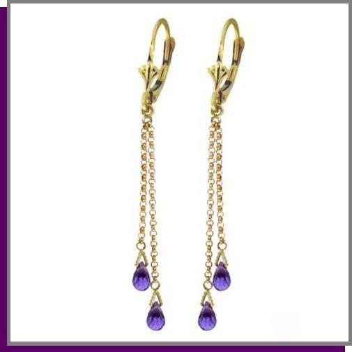 14K Yellow Gold 2.50 CT Amethyst Dangle Earrings