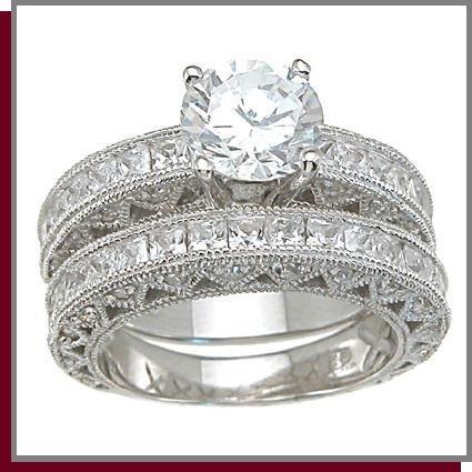 2.0 CT Princess Cut Sterling Silver Wedding Rings