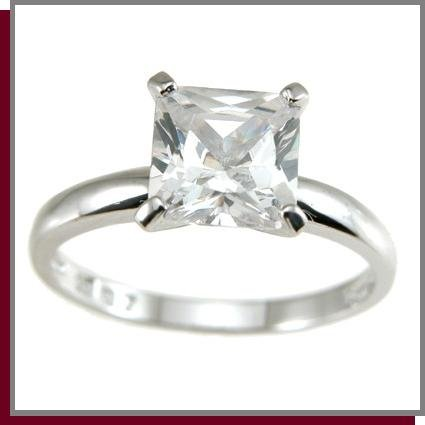 3.0 CT Princess Cut Solitaire Sterling Silver Ring