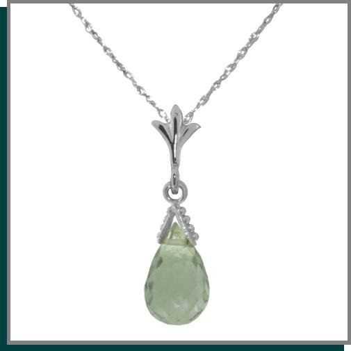 2.25 CT Green Amethyst Sterling Silver Necklace