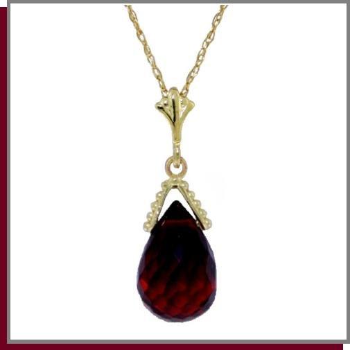 """14K Solid Gold 2.5 CT Briolette Garnet Necklace 18"""""""