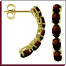14K Yellow Gold 2.50 CT Genuine Oval Garnet Earrings