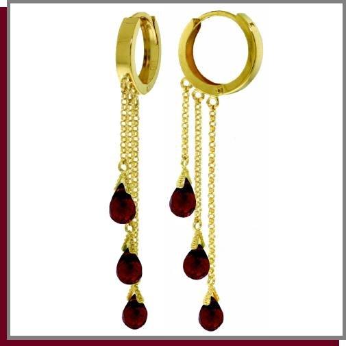 14K Yellow Gold 4.8 CT Briolette Garnet Dangle Earrings