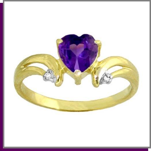 14K Gold 1.0 CT Heart Amethyst & Diamond Ring SZ 5 - 9