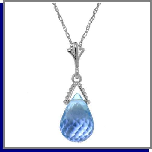 2.25 CT Briolette Blue Topaz Sterling Silver Necklace