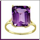 14K Solid Gold 6.5 CT Natural Amethyst Ring SZ 5 - 9
