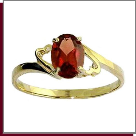 14K Solid Gold 1.0 CT Oval Natural Garnet Ring SZ 5 - 9
