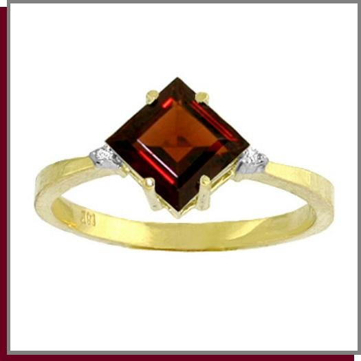 14K Gold 1.75 CT Natural Garnet & Diamond Ring SZ 5 - 9