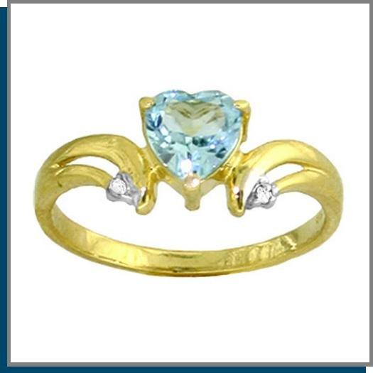 14K Gold 1.0 CT Heart Blue Topaz & Diamond Ring SZ 5 - 9
