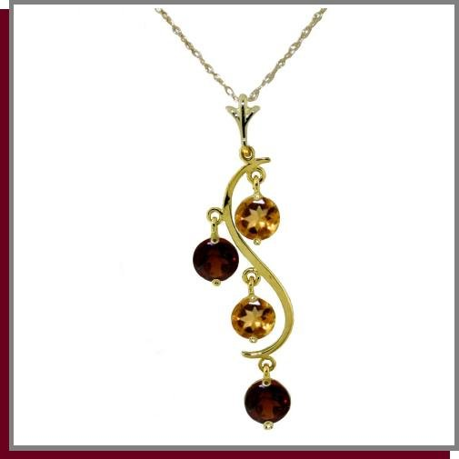 14K Yellow Gold 2.30 CT Garnet & Citrine Necklace