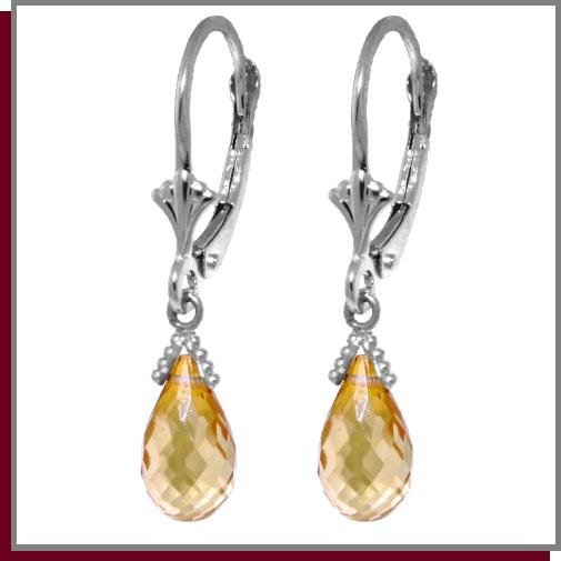 4.50 CT Citrines Sterling Silver Dangle Earrings