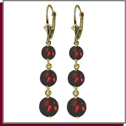 14K Yellow Gold 7.20 CT Genuine Garnet Dangle Earrings