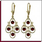14K Yellow Gold 2.40 CT Gen Garnet Chandelier Earrings
