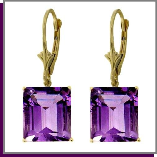 14K Yellow Gold 13.00 CT Amethyst Dangle Earrings