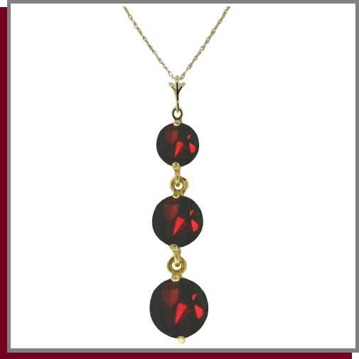 14K Yellow Gold 3.60 CT Genuine Garnet 3 Stone Necklace